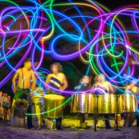 Light trails with drummers